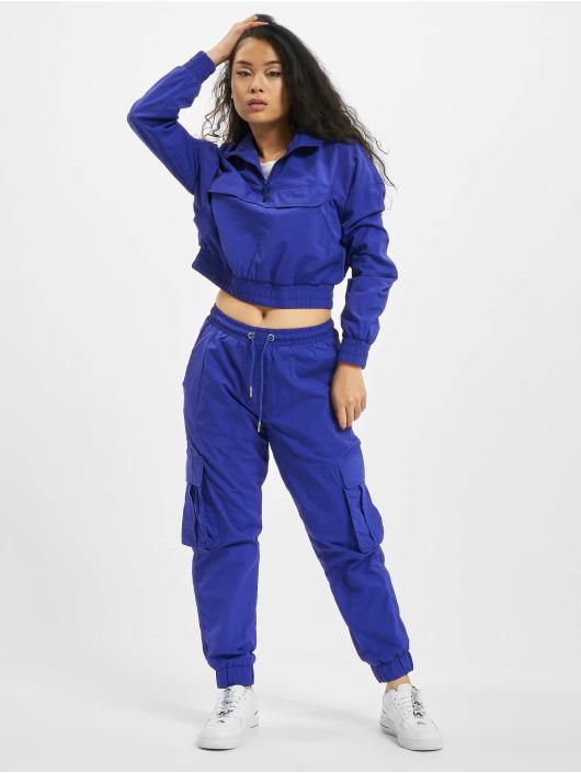 Urban Classics Lightweight Jacket Ladies Cropped Crinkle Nylon Pull Over purple