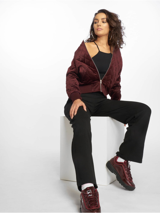 Urban Classics Lightweight Jacket Ladies Diamond Quilt Velvet red