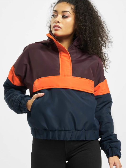 Urban Classics Lightweight Jacket Ladies 3-Tone Neon Mix Pull Over red