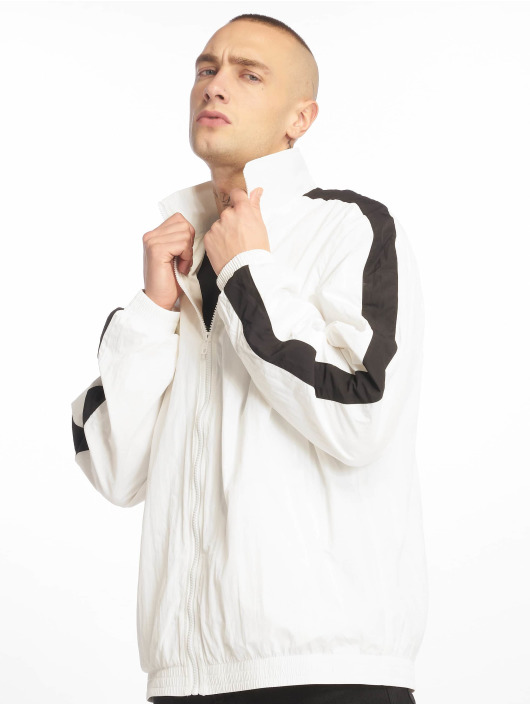 Urban Classics Lightweight Jacket Striped Sleeve Crinkle white