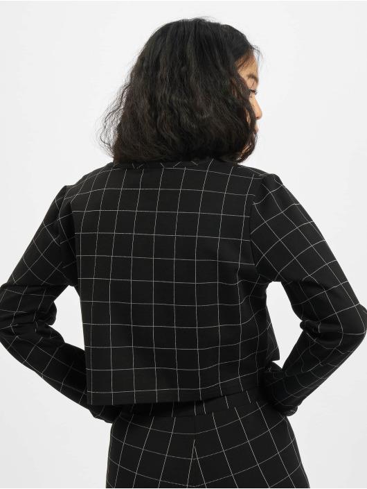 Urban Classics Longsleeve Ladies Check Cropped Crew black