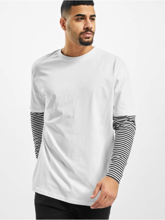 Urban Classics Longsleeve Oversized Double Layer Striped Tall white