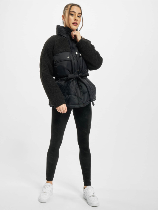 Urban Classics Puffer Jacket Ladies Sherpa Mix black