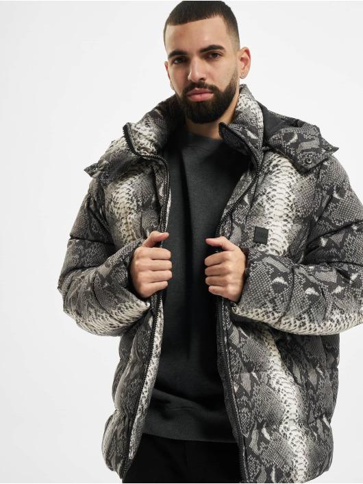 Urban Classics Puffer Jacket Hooded AOP gray