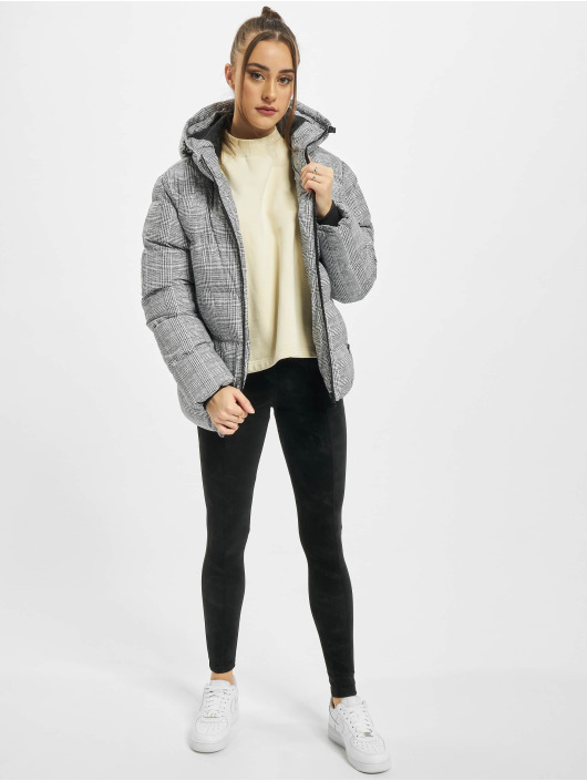 Urban Classics Puffer Jacket Ladies AOP Glencheck white