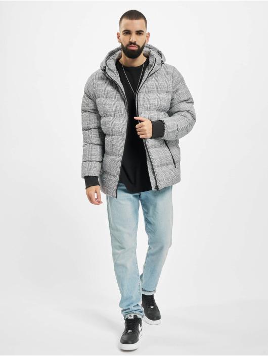 Urban Classics Puffer Jacket Hooded Check white