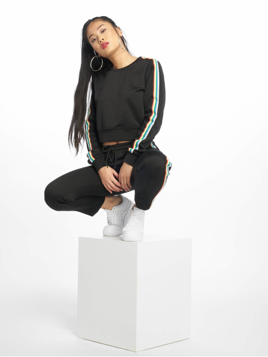 Urban Classics Pullover Multicolor Taped Sleeve black