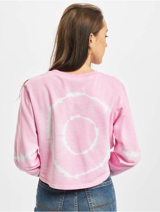 Urban Classics Pullover Ladies Tie Dye Cropped Crewneck pink