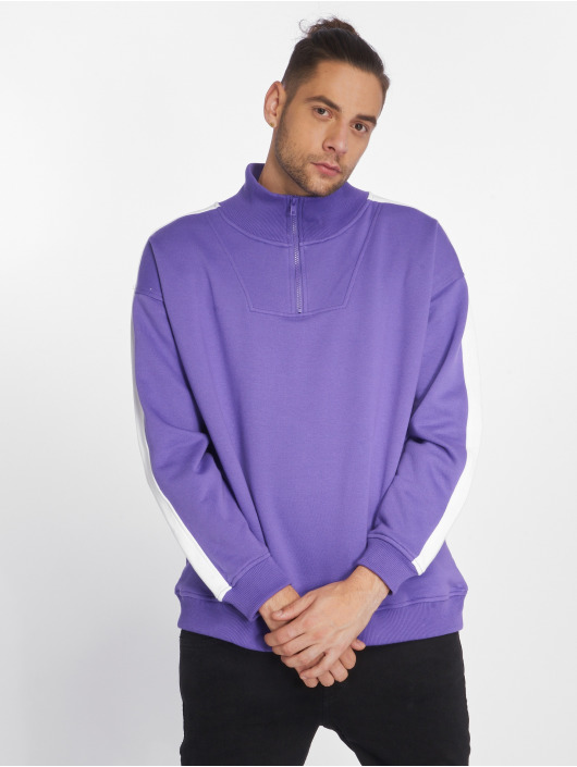 Urban Classics Pullover Oversize Stripe Troyer purple