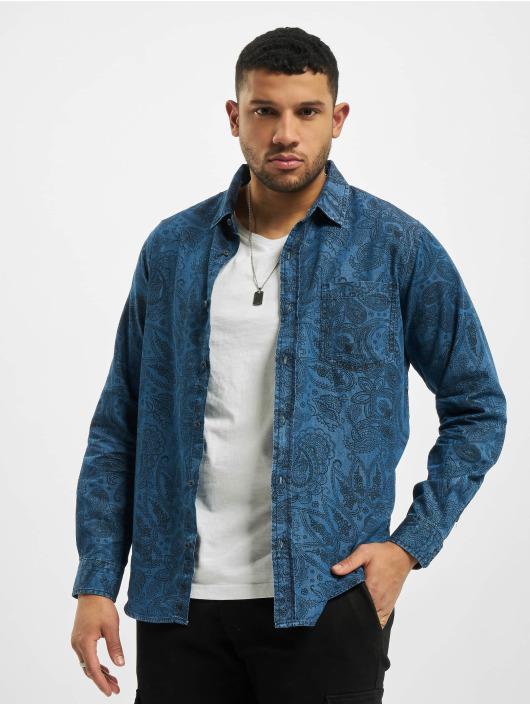 Urban Classics Shirt Printed Paisley Denim blue