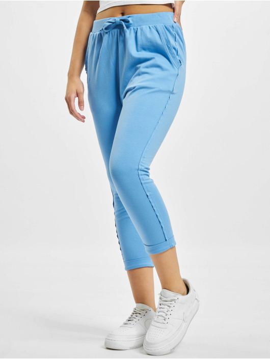 Urban Classics Sweat Pant Open Edge Terry Turn Up blue