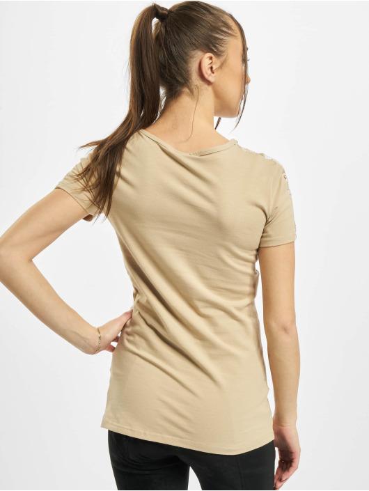Urban Classics T-Shirt Ladies Lace Shoulder Striped Tee beige