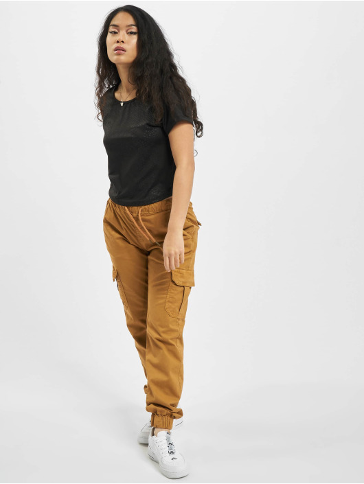 Urban Classics T-Shirt Ladies Stretch Pattern Cropped Tee black