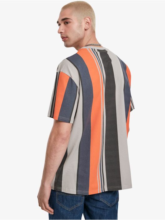 Urban Classics T-Shirt Heavy Oversized Big All Over Print Stripe gray