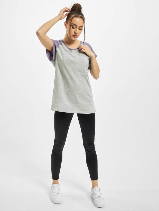 Urban Classics T-Shirt Ladies Contrast Raglan gray
