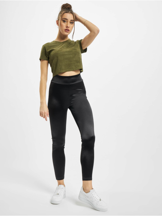 Urban Classics T-Shirt Ladies Cropped Peached Rib Tee olive