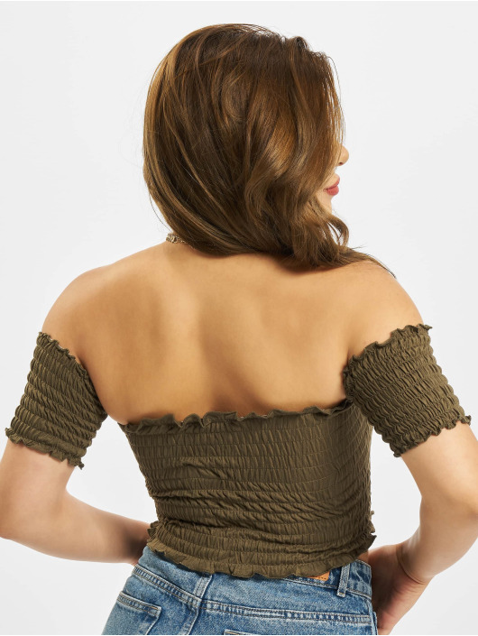 Urban Classics Top Cold Shoulder Smoke Cropped olive