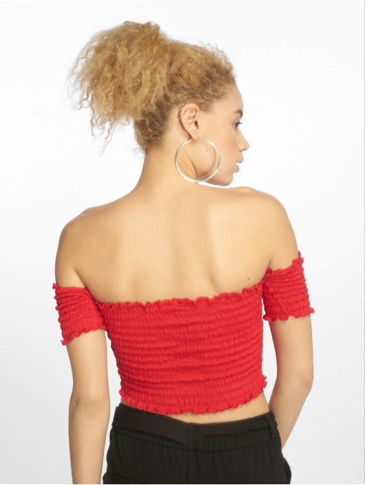 Urban Classics Top Cold Shoulder Smoke Cropped red