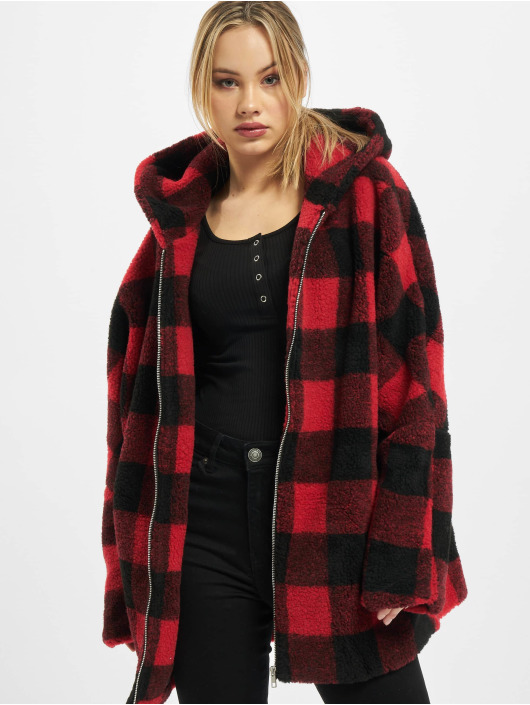 Urban Classics Winter Jacket Ladies Hooded Oversized Check Sherpa red