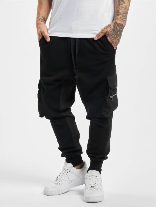 VSCT Clubwear Sweat Pant Clubwear Mix Fabric Future Baggy black