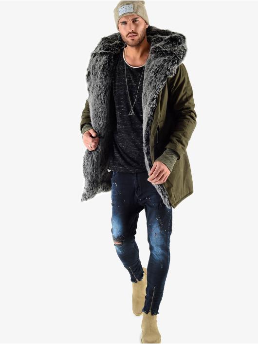 VSCT Clubwear Winter Jacket Double Zipper Luxury khaki