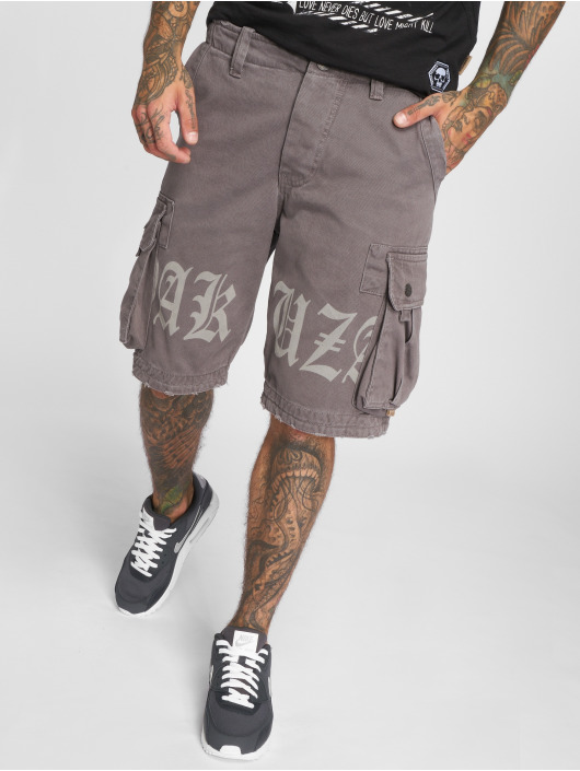 Yakuza Short Skull Label Cargo gray