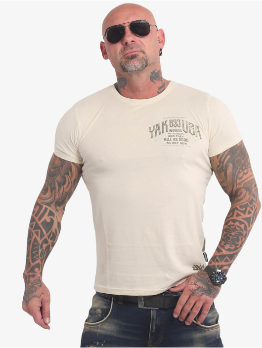 Yakuza T-Shirt Words Like Bullets beige