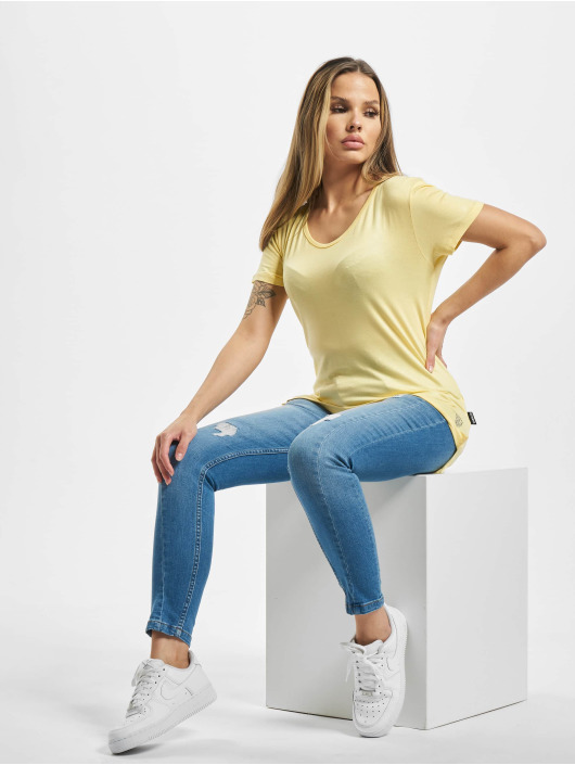 Yakuza T-Shirt 893Love Emb V Neck yellow