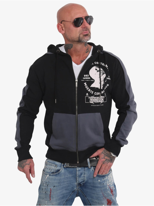 Yakuza Zip Hoodie Vintage Two Face black