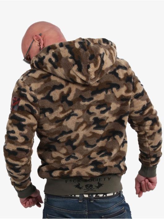 Yakuza Zip Hoodie Red Flag Sherpa camouflage