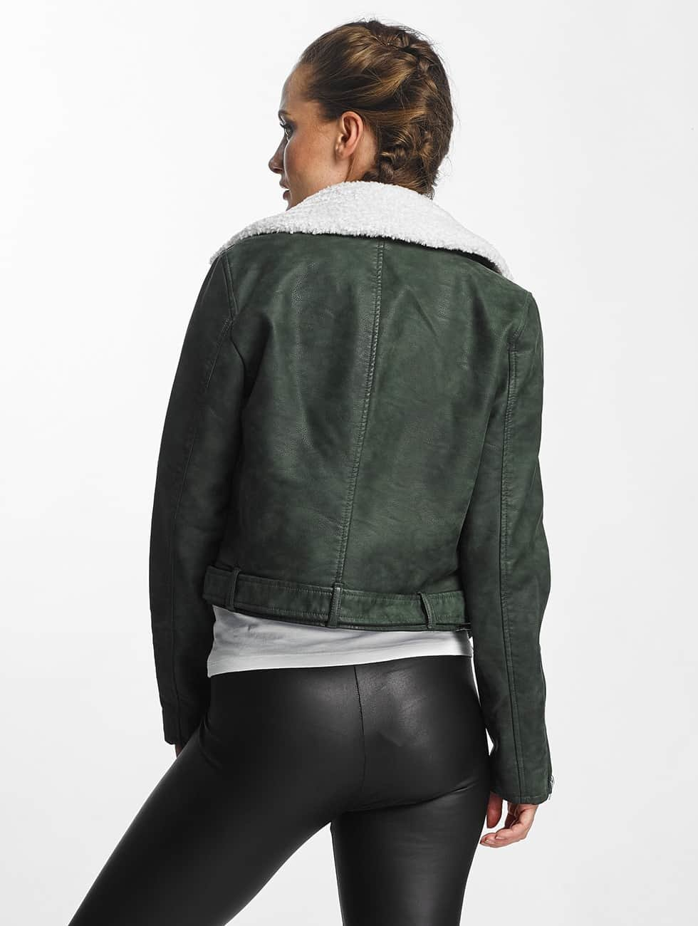 Only Leather Jacket onlDanielle Faux Leather Biker green