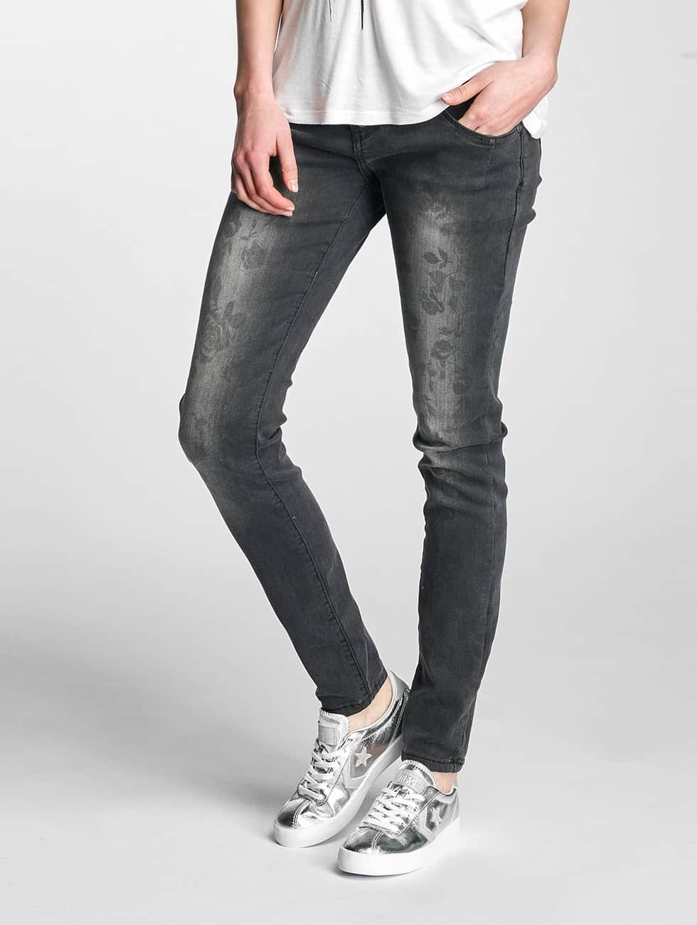 Rock Angel Skinny Jeans Brook Flowers black