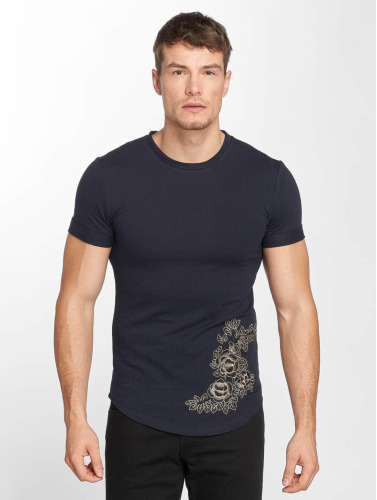 Aarhon Hombres Azul Camiseta Imprimé Fleur 8P0nwOkX