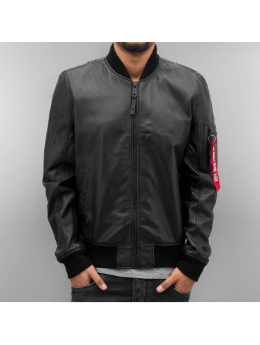 Alpha Industries Hombres Chaqueta De Cuero Ma-1 Leather Lw || Alpha Industries Cuir Veste En Cuir Hommes Ma-1 || Pv In Negro En Noir officiel du jeu YCPzn1