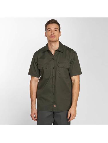 Plastrons Hombres Short Camisa Travail Sleeve Oliva