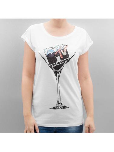 Merchcode Mujeres Dames Camiseta Cocktail Mtv En Blanco