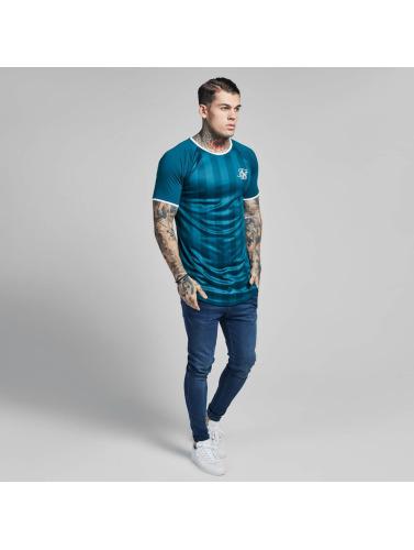 Hombres De Soie Sik Camiseta Contraste Gymnase Bande Rétro Verde le magasin 0JGmztHU