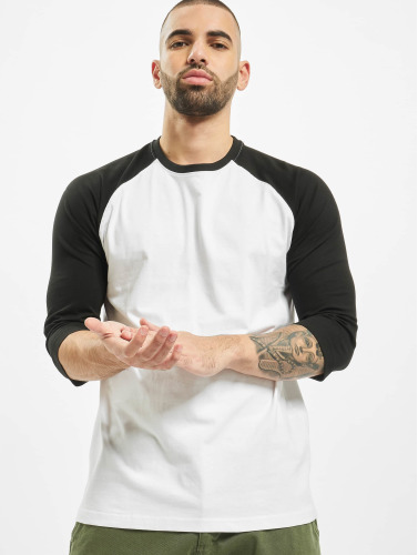 Classiques Urbains Hombres Camiseta Contraste 3/4 Manches Raglan En Blanco