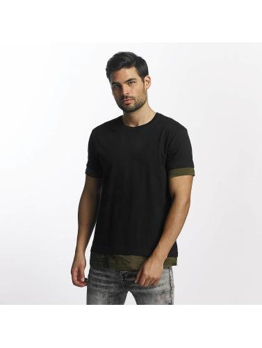 Classiques Urbains Hombres Camiseta Longue En Forme De Médaillon De Camo Negro
