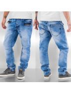 Cipo & Baxx Straight Fit Jeans Zipper blau