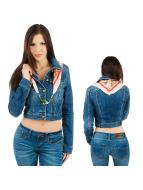 Free Soul Lightweight Jacket Faye Shorts Denim blue