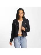 JACQUELINE de YONG Leather Jacket jdyPenny Cropped Faux Suede Biker blue