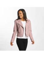 JACQUELINE de YONG Leather Jacket jdyPenny Cropped Faux Suede Biker rose