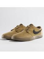 Nike SB Solarsoft Portmore ll Skateboarding Sneakers Golden Beige/Black/Gum Light Brown/White