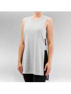 Only t-shirt onlRie Rib Slit Long grijs