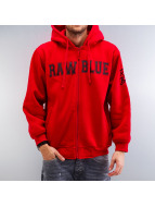 Raw Blue Zip Hoodie red