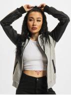 Urban Classics Zip Hoodie Diamond Leather Imitation Sleeve grau