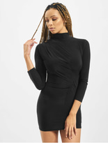Missguided Petite High Neck Rouched Mini Dress Black image number 2