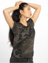 Urban Classics Camo Back Shaped T-Shirt Olive Camo