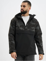 Urban Classics Camo Mix Pull Over Jacket Black/Snow Camo image number 0